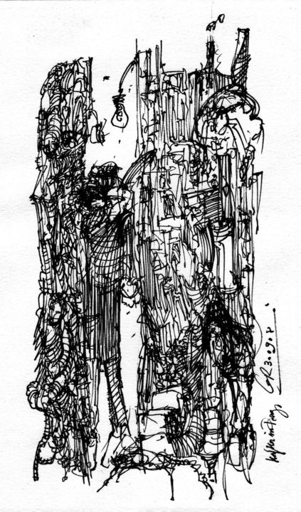 Sodom und Gomorrha (3) - Drawing,  21.6x13.8 cm ©2008 by Stephan Rodriguez Warnemünde -                                                                                                                                                                                                            Expressionism, Paper, Education, Dark-Fantasy, Spirituality, Classical mythology, Culture, World Culture, People, Places, Religion, Black and White, Mortality, Cities, Time, Bibel, Altes Testament, Sünde, Zorn