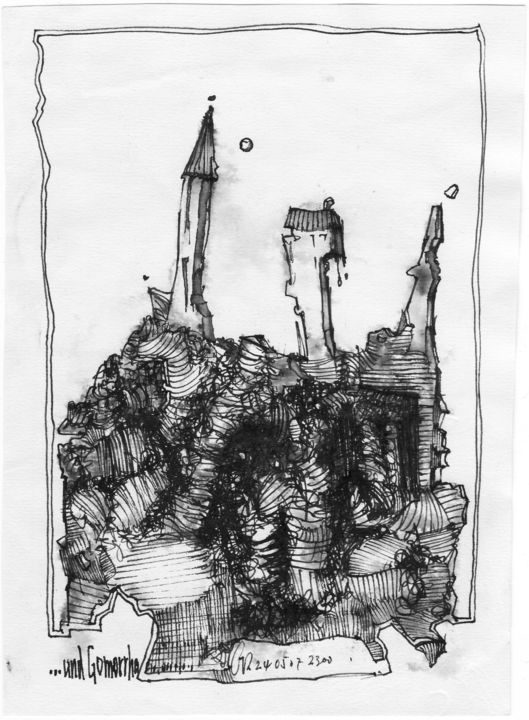 ...und Gomorrha - Drawing,  19.4x14.3 cm ©2007 by Stephan Rodriguez Warnemünde -                                                                                                                                                                                                Expressionism, Paper, Architecture, Celebrity, Education, Dark-Fantasy, Spirituality, Classical mythology, Culture, Places, Religion, Black and White, Mortality, Cities, Bibel, Gott, Sodom und Gomorrha, Altes Testament, Tod, Sünde