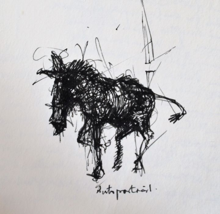 Ich Esel - Drawing, ©2014 by Stephan Rodriguez Warnemünde -                                                                                                                                                                                                                                                                                                                                                                                                                                                                                                  Expressionism, expressionism-591, Horses, Black and White, Mortality, Animals, Esel, Tiere, Pferde, Tod