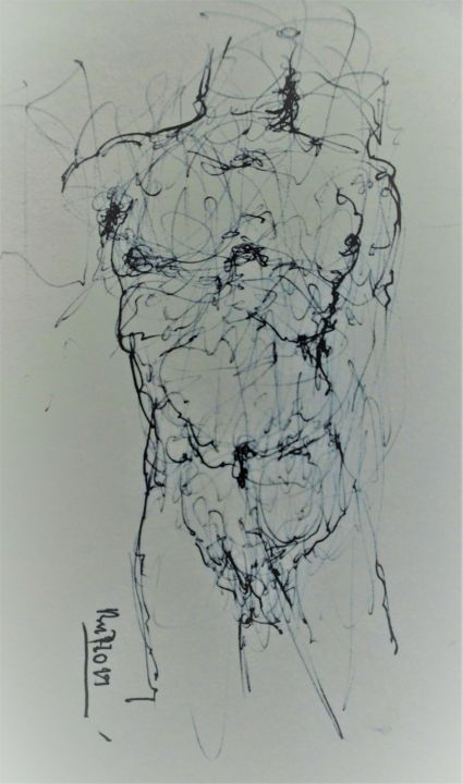 Ikarus (2) - Drawing, ©2019 by Stephan Rodriguez Warnemünde -                                                                                                                                                                                                                                                                                                                                                                                                          Expressionism, expressionism-591, Nude, Body, Mortality, Akt, Körper, Tod