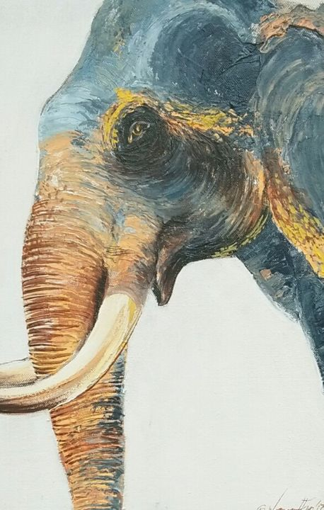 A Tusker's Gaze - Painting,  54x28x1.5 in ©2018 by Wasantha Ranjan -                                                                                Environmental Art, Illustration, Animals, Farm, History, Animal Paintings, Geometric Style, Acrylic on Canvas, Acrylic Paintings
