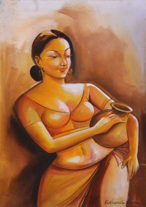"""Painting titled """"Beauty with Simplic…"""" by Wasantha Ranjan, Original Art, Acrylic Mounted on Stretcher frame"""