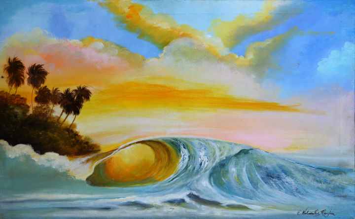 The Golden Wave - Painting,  40x60x1.5 in, ©2018 by Wasantha Ranjan -                                                                                                                                                                                                                                                                                                                                                              Abstract, abstract-570, Landscape, Landscape Paintings, Landscape Arts, Acrylic on Canvas, Acrylic Paintings