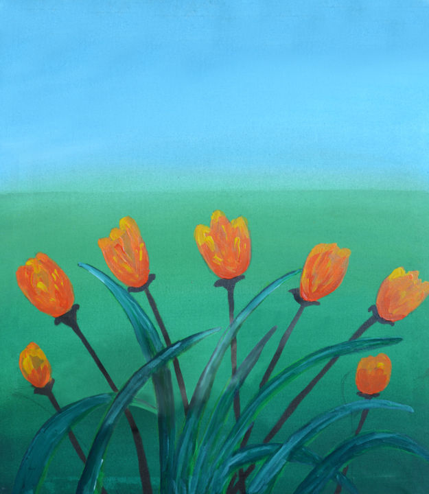 Tulips in the Wind - © 2018 Landscape Paintings, Landscape Arts, Acrylic on Canvas, Acrylic Paintings Online Artworks