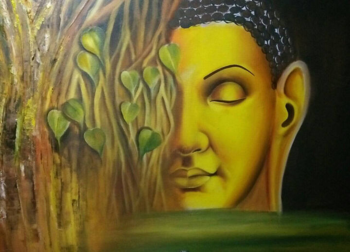 """Painting titled """"Nature of the Buddha"""" by Wasantha Ranjan, Original Art, Acrylic Mounted on Stretcher frame"""