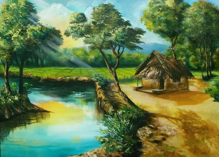"""Painting titled """"Village Dream"""" by Wasantha Ranjan, Original Art, Acrylic Mounted on Stretcher frame"""