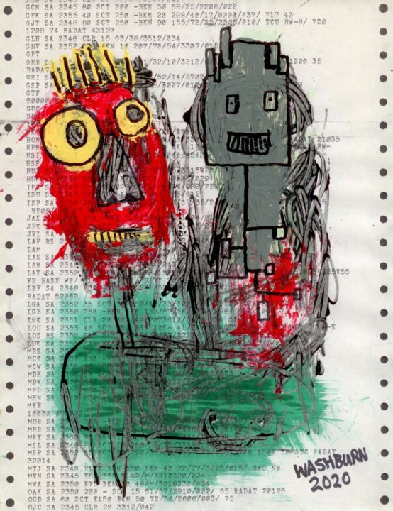 AI MAN - Drawing,  11x8.5 in, ©2020 by William Washburn -                                                                                                                                                                                                                                                                                                                                                                                                                                                                                                  Outsider Art, outsider-art-1044, Abstract Art, Graffiti, Technology, Washburn, Outsider, art, brut, original