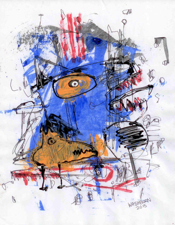 SOLD! Blue Swamp Dog - Mixed Media,  11x8.5 in ©2015 by William Washburn -                                                                        Abstract Art, Outsider Art, Paper, Abstract Art, Washburn, outsider, art, original, abstract, painting, drawing, blue, dog, acrylic