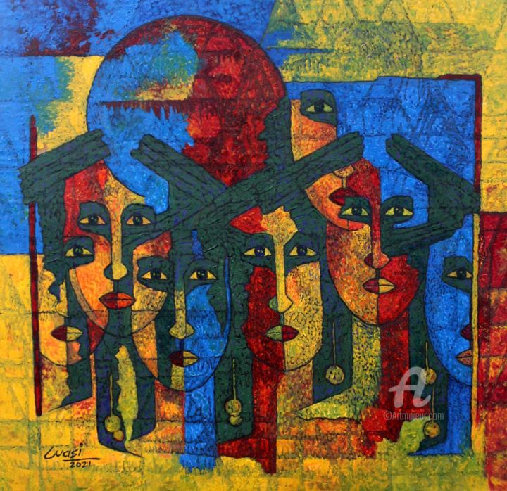 """Painting titled """"Faces (Different Mo…"""" by Wasi Haider Artist, Original Art, Acrylic"""