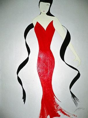 Lady In Red - 1 - Painting,  76x57 cm ©2007 by Abhilasha -