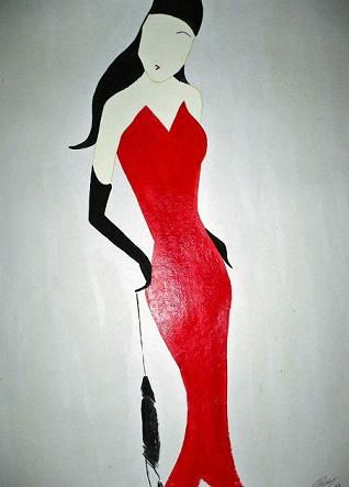 Lady In Red - 2 - Painting,  76x57 cm ©2007 by Abhilasha -