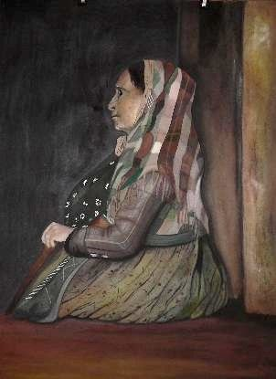 Old Beggar Woman - Painting,  76x57 cm ©2007 by Abhilasha -