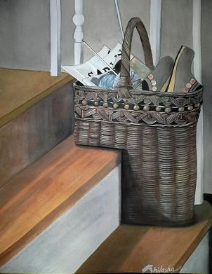 Step Basket - Painting,  35x28 cm ©2007 by Abhilasha -