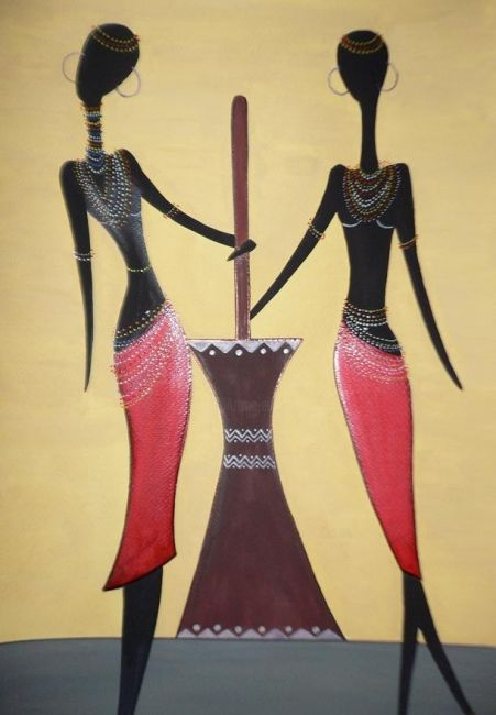 Tribal - 2 - Painting,  18x12 in ©2009 by Abhilasha -