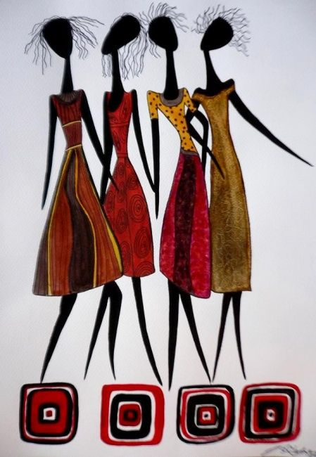 Girls - 2 - Painting,  18x12 in ©2009 by Abhilasha -