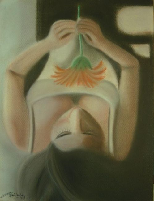 Deep In Thoughts - Painting,  12.5x9.5 in ©2009 by Abhilasha -