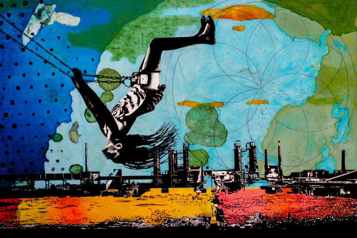 ON TOP OF THE WORLD - Painting,  85x130x2 cm ©2019 by dbWaterman -                                                                                                                                Expressionism, Contemporary painting, Modernism, Folk, Architecture, Kids, Colors, Landscape, People, child, girl, swing, playground, world, chimnees, industrial landscape, industry, landscape, urban, blue, green