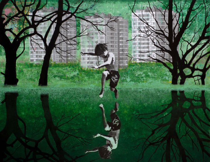 THE GREEN POND - Collages,  18.9x24.8 in, ©2020 by Dbwaterman -                                                                                                                                                                                                                                                                                                                                                                                                                                                                                                                                                                                                                                                                                                                                                                                                                                                                                                                                                                                                      Expressionism, expressionism-591, Architecture, Landscape, Nature, Water, boy, pond, pool, swim, green, trees, buildings, mirror, playground, child, grass, architecture, apartment building, collage, mixed media