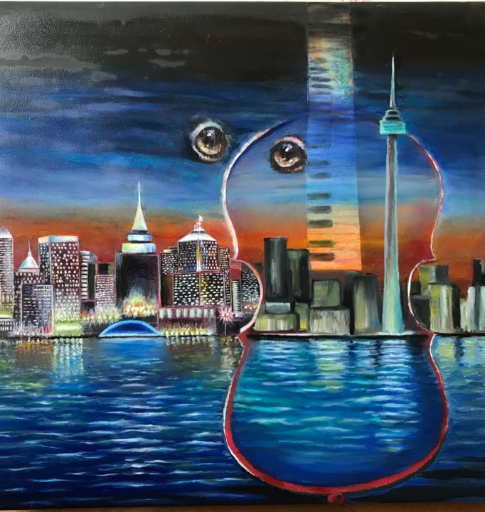 """Painting titled """"Night city."""" by Valery, Original Art, Oil"""