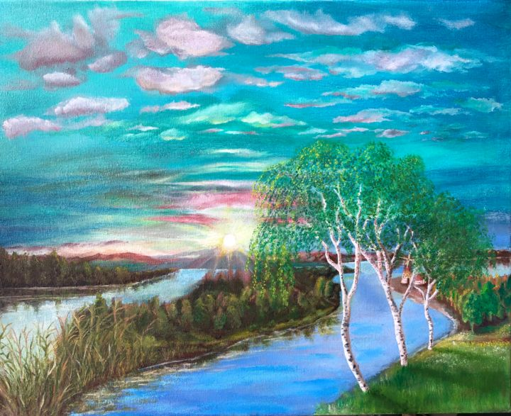 """Painting titled """"SUNSET ON RIVER"""" by Valery, Original Art, Oil"""