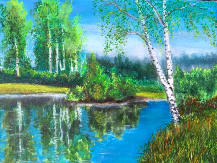 """Painting titled """"SILENT OF NATURE"""" by Valery, Original Art, Oil"""