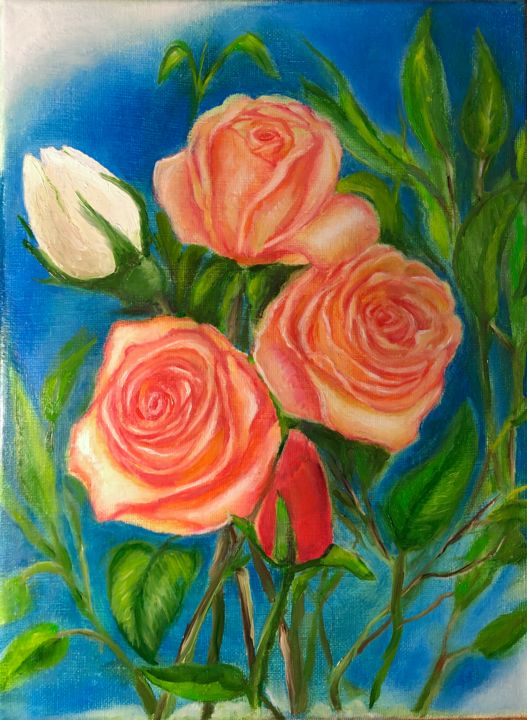 """Painting titled """"Bouquet  with white…"""" by Valery, Original Art, Oil"""