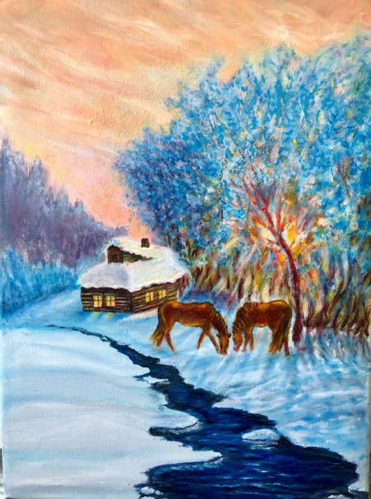 """Painting titled """"Winter mood"""" by Valery, Original Art, Oil"""
