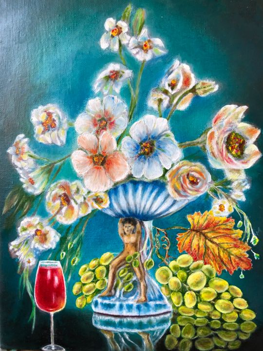 """Painting titled """"Flowers"""" by Valery, Original Art, Oil"""