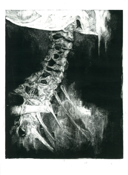 monotype02.jpg - Gravures & estampes,  13x9,5 in, ©2016 par William Chajin -                                                                                                                                                                                                                                                                                                                                                                                                                                                                                                                                                                                                                                      Figurative, figurative-594, Noir et blanc, Dark-Fantasy, Gothique, skull, x ray, black and white, monotype, printmaking, dark, horror, drawing