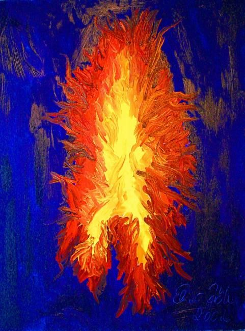 das Feuer - Painting,  80x60 cm ©2010 by Elmar Goeke -                        Abstract Art