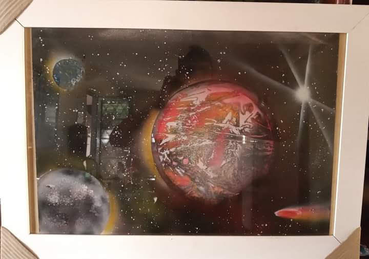 """Painting titled """"sonifera"""" by Wederson Pereira Silva, Original Art, Spray paint Mounted on Other rigid panel"""