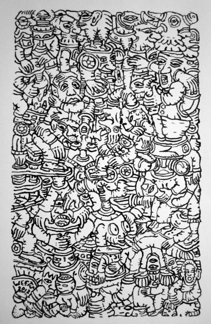 "Elevated - Drawing,  44x24 cm ©2012 by Eric G. C. Weets -                                                            Contemporary painting, Paper, Fantasy, Black ink drawing on paper, titled, ""Elevated"". reproduction, self taught, line drawing, black and white, surrealism, Belgium"