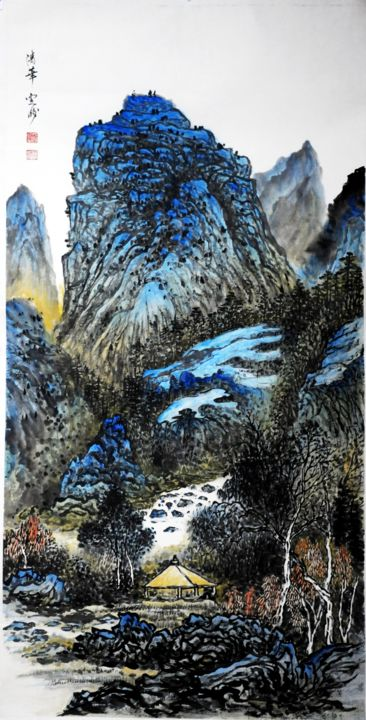Chinese watercolour Landscape paining, with heavy colour - Painting,  48x24 in, ©2014 by Weiping Li -                                                                                                                                                                                                                                                                                                                                                                                                                                                                                                                                                                                                                                                                                                                              Abstract, abstract-570, Landscape, plant, water, fine art, chinese, china, abstract, asian, figurative, impression, landscape, modern, mountain ink