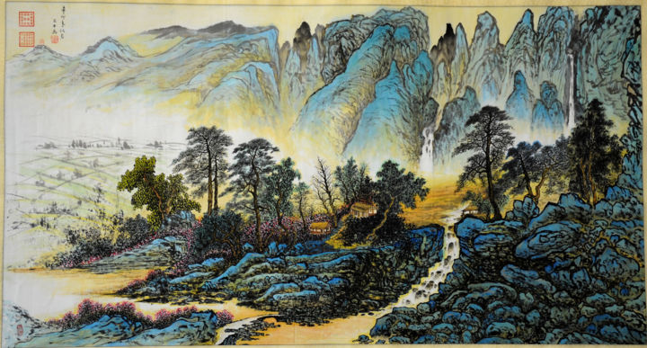 Chinese watercolour Landscape paining,with heavy colour - Painting,  24x48 in, ©2012 by Weiping Li -                                                                                                                                                                                                                                                                                                                                                                                                                                                                                                                                                                                                                                                                                                                              Abstract, abstract-570, Landscape, plant, water, fine art, chinese, china, abstract, asian, figurative, impression, landscape, modern, mountain