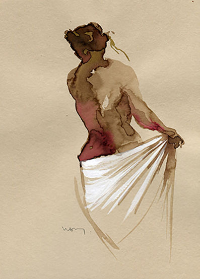 """Painting titled """"Fragment 102"""" by Sandrine Wely, Original Art, Ink"""