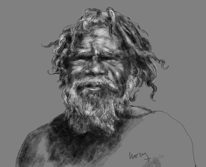 Portrait d'un Aborigène d'Australie - Digital Arts ©2014 by Sandrine Wely -                                            Portraiture, World Culture, Portraits, Aborigènes, Australie