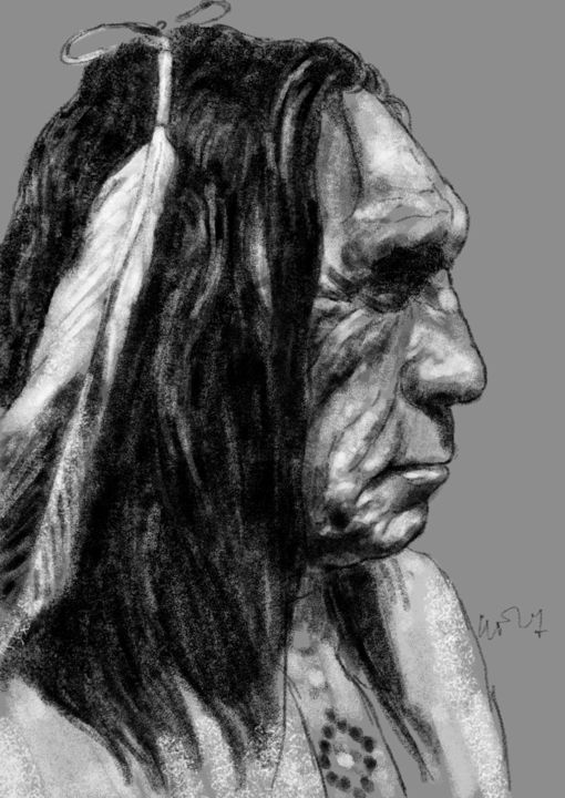 "Portrait de Lame deer, ""Cerf boiteux"", médecin man Lakota - Digital Arts ©2014 by Sandrine Wely -                                            Portraiture, Pop Culture / celebrity, Indiens d'Amérique, médecin man, Shamans"