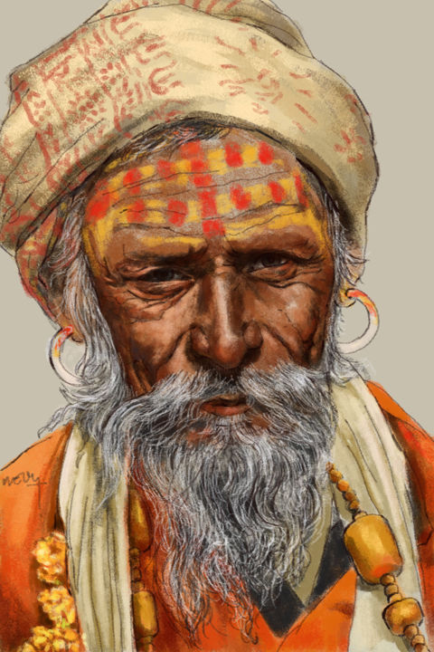 Portrait d'un Sadhu - Digital Arts ©2014 by Sandrine Wely -                                            Portraiture, World Culture, Portrait, Sagesse, Inde