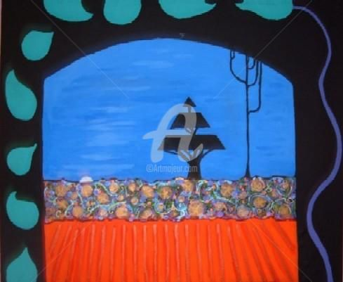 window to the garden - Painting,  20.9x27.2 in, ©2004 by Redreamer -                                                              abstract contemporary fantasy landscape