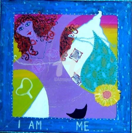 I am me - Painting,  17.7x17.7 in, ©2004 by Redreamer -                                                                                                                                                      Redreamer, Wendy Bandurski-Miller, contemporary Australian Woman Painter