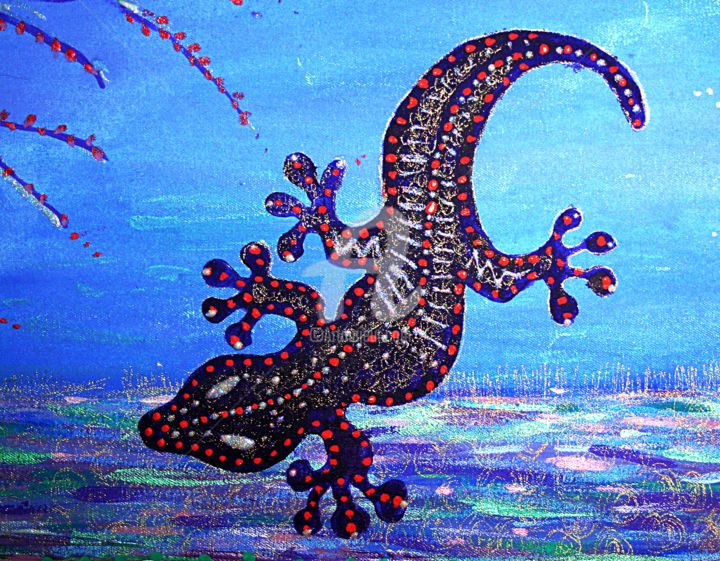 REDREAMING GECKO (detail) - © 2008 Wendy Bandurski-Miller, Gecko painting, Australian contemporary paintings, REMODERNIST, REDREAMING Online Artworks