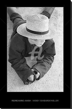 Redreaming Amish - Photography ©2009 by Redreamer -            Black and white photo Amish boy in hat.