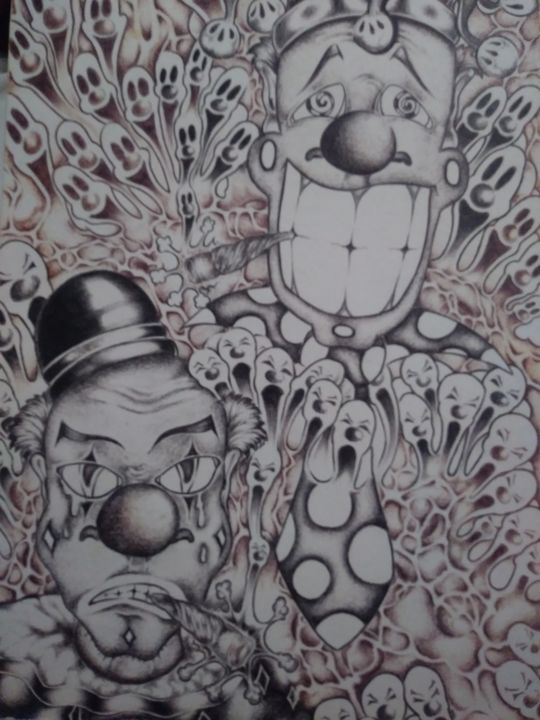 """Drawing titled """"Highs and Lows"""" by Wesley Cudd, Original Art, Ballpoint pen"""