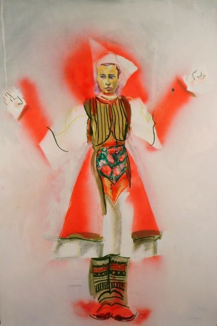 """Drawing titled """"Red Head Scarf Girl"""" by Daniel Whitmer, Original Art,"""