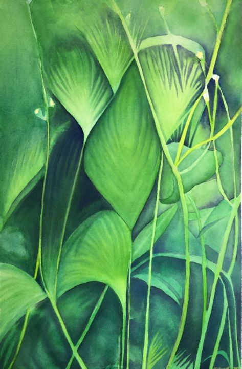 """Painting titled """"Green Foliage"""" by Nathaniel Whynott, Original Art, Gouache"""
