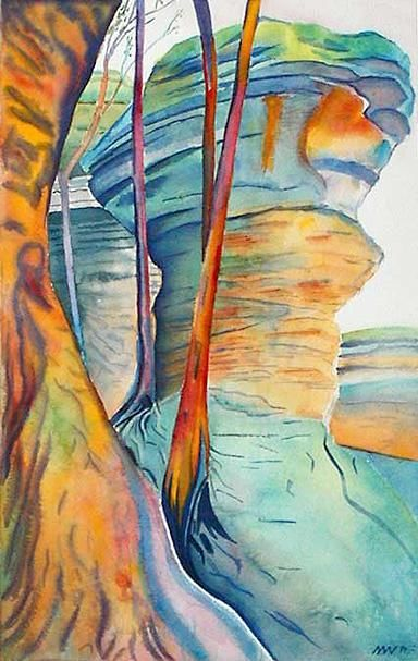 """Painting titled """"The Anvil - Garden…"""" by Nathaniel Whynott, Original Art, Gouache"""
