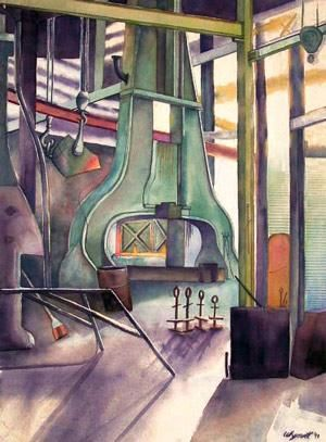 """Painting titled """"Steel Mill"""" by Nathaniel Whynott, Original Art, Gouache"""