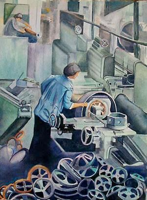 """Painting titled """"Industrial Worker -…"""" by Nathaniel Whynott, Original Art, Gouache"""