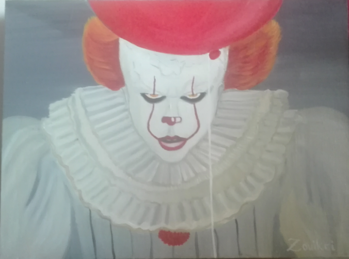 Pennywise the dancing clown Oil - Painting,  60x80x2 cm ©2017 by Wided Z -                                                                        Concrete Art, Figurative Art, Modernism, Portraiture, Realism