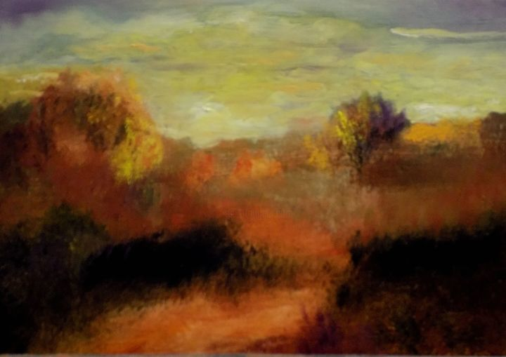 """Painting titled """"Fall Sunset"""" by Willis Moore, Original Art, Oil"""